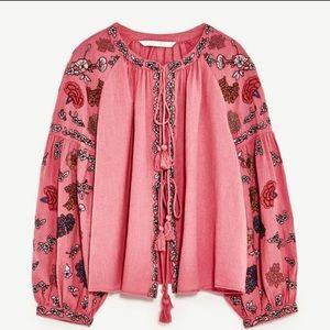 Zara Embroidered Flounce Top